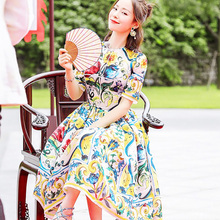 Top Fashion New Summer Women Sweet Floral Printed Celebrity Runway A-line Dress 3D Print Colorful Cute Slim Dress High Quality
