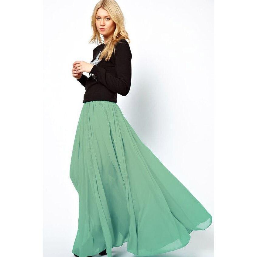 Зеленые юбки из шифона