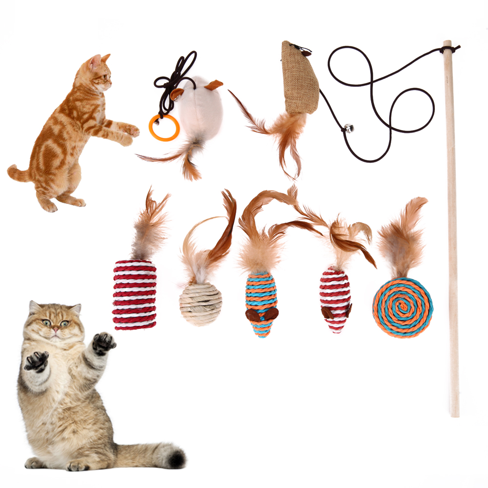 Cat Toy Feather Plastic Ball Funny 40 cm Cat Stick Colorful Feathers Funny Cat Rods Pet Interactive Toys With Box