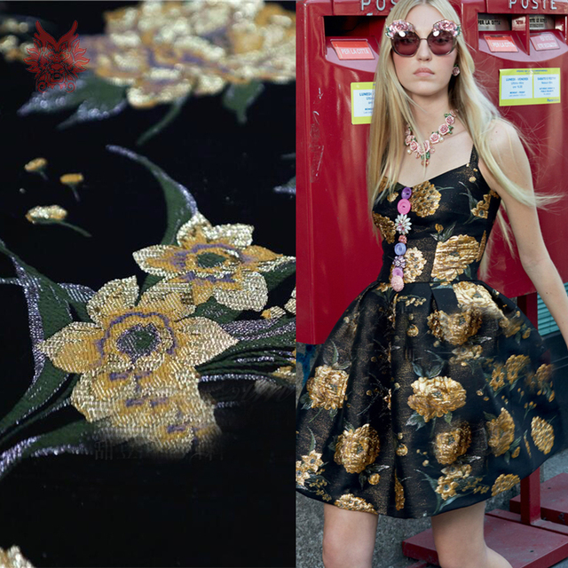 8ab069d7f613 France style black gold floral metallic jacquard brocade fabric apparel for  coat dress tissu tecido stoffen