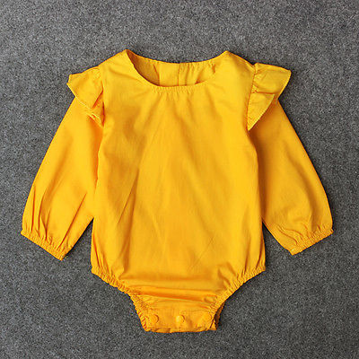 0 new hot fashion summer long sleeve o-neck pullover Lovely Newborn Baby Girls Ruffles Romper Playsuit Outfits Clothes 0-24M