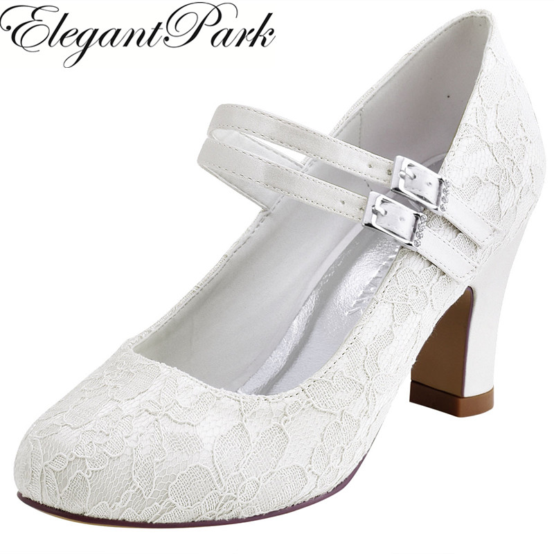 Woman Shoes Wedding Bridal White Ivory Closed Toe Med Block Heel Comfort Mary Jane Bride Lady Lace Prom Party Pumps HC1708 woman high heel wedding sandals silver peep toe bridesmaid bride bridal shoes satin lady prom party evening pumps white ivory
