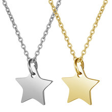 2019 Titanium Stainless Steel Long Chain Necklace Gold Silver Tone Solid Star Charm Pendant Necklace Women Men Custom Necklace цена 2017