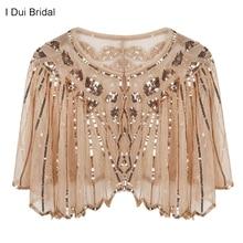 Frauen 1920s Schal Perlen Pailletten Deco Hochzeit Cape Abend Wrap Flapper Abdeckung Up Cocktail Kleid Schal Spezielle Event cape