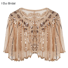 Womens 1920s Shawl Beaded Sequin Deco Wedding Cape Evening Wrap Flapper Cover Up Cocktail Dress Scarf Special Event Cape