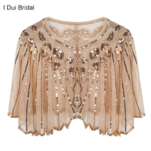 Image 1 - Womens 1920s Shawl Beaded Sequin Deco Wedding Cape Evening Wrap Flapper Cover Up Cocktail Dress Scarf Special Event Cape