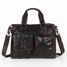 Maxdo Promotion Dark Coffee Vintage Real Genuine Leather Men Briefcase 14 inch Laptop Bag Cowhide Men Messenger Bags #M260