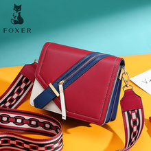 FOXER 2019 Lady Folk-custom Panelled Flaps Women Crossbody Bag Colorful Hasp Shoulder Girl Fashion Leather Messenger Bags