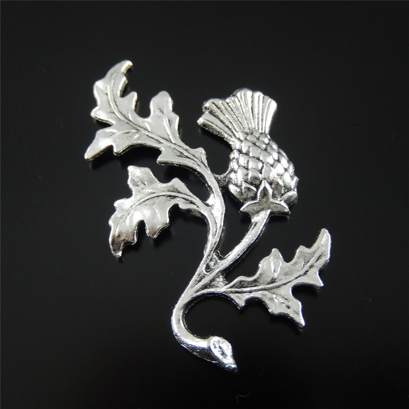 GraceAngie 20PCS Antiqued Style Silver Tone Alloy THISTLE Pendants Charms Wave Winter Hot Sell Plant Flower Model Best Gift in Charms from Jewelry Accessories