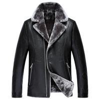Men's Suit Collar Fur Leather Jacket With A Leather Jacket With A Plush Leather Man's Motorcycle Fur Coat