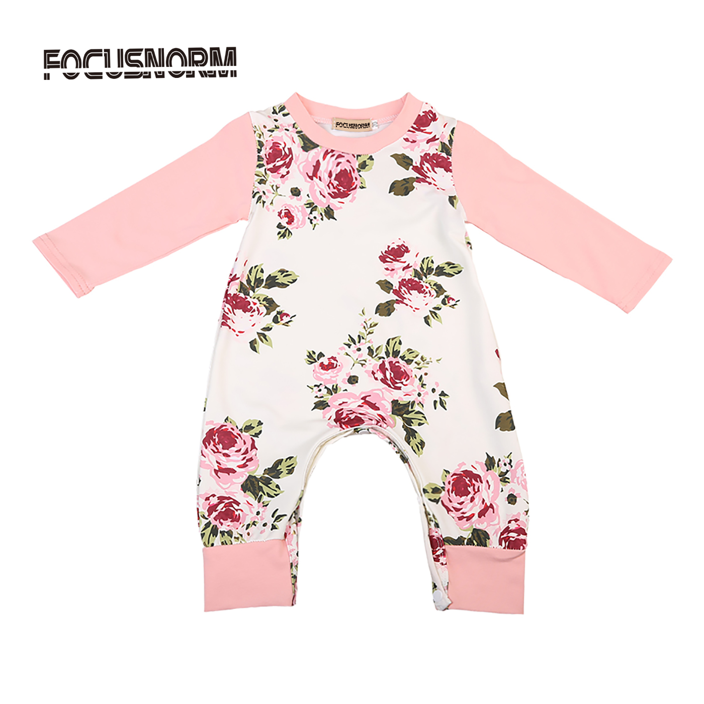 Classic Floral Romper Jumpsuit Cotton Newborn Kids Baby Girls Playsuit Clothes Outfits 0-24M