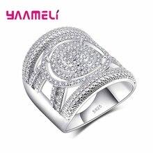 YAAMELI Unisex Fashion Cool925 Sterling Silver Wide Finger font b Engagement b font font b Rings