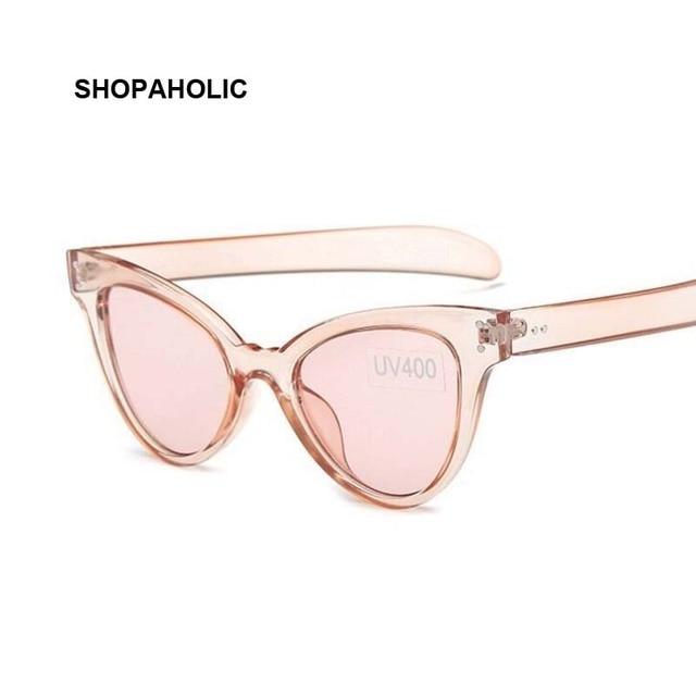 a478c03224663 Transparente Do Olho de Gato Cateye óculos de Sol para As Mulheres Marca  Designer Vintage Óculos