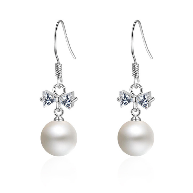 Elegant Pearl Drop Earrings With Cubic Zirconia Bowknot Design Abs For Women Fashion Jewelry
