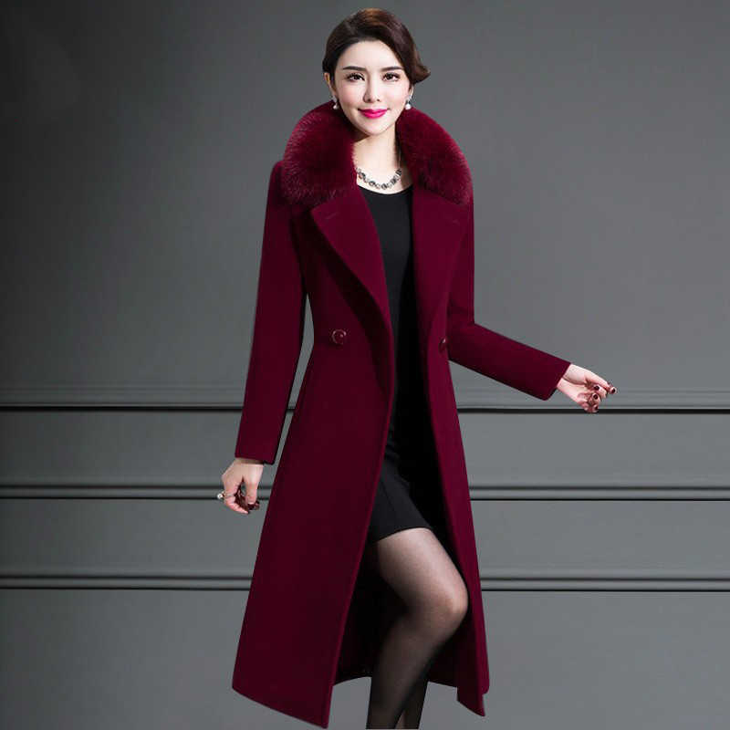 Special offer middle-aged self-cultivation women's winter coat long woolen coat solid color fur collar cashmere coat JQ01