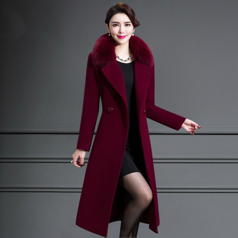 Offre spéciale d'âge moyen d'auto-culture femmes manteau d'hiver manteau long en laine couleur unie col de fourrure manteau en cachemire JQ01