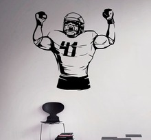 Removable Football Player Wall Decal Art Sport Vinyl Sticker Home Wall Interior Decor Bedroom Decor Art Murals Sports NY-136 wall decal luis suarez football player star bedroom living room decal wall art sticker removable fashion interior decor ww 36