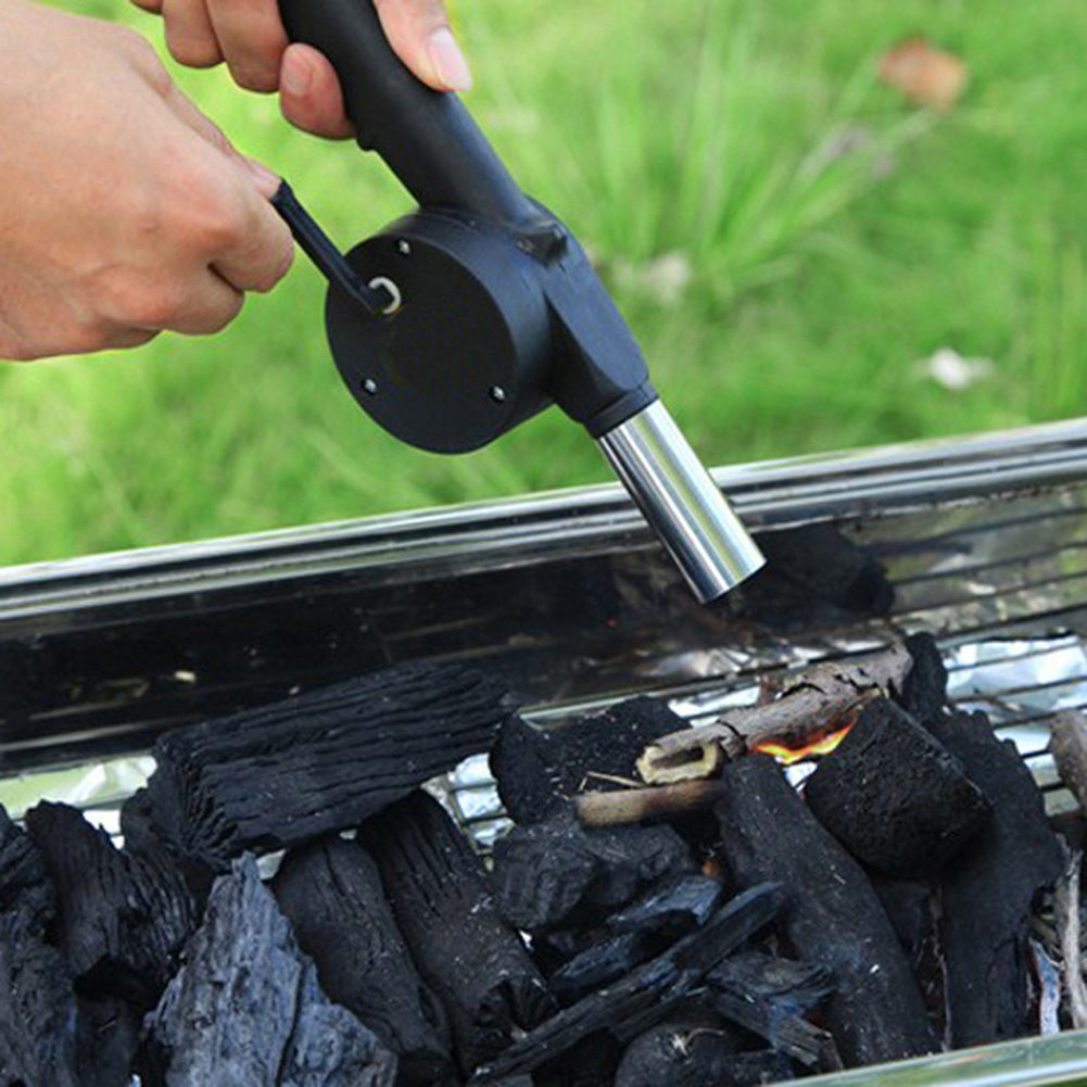 Hand Crank BBQ Fan Air Blower Outdoor Camping BBQ Tools Barbecue Fire Bellows Meat Cooking For Portable Outdoor Picnic