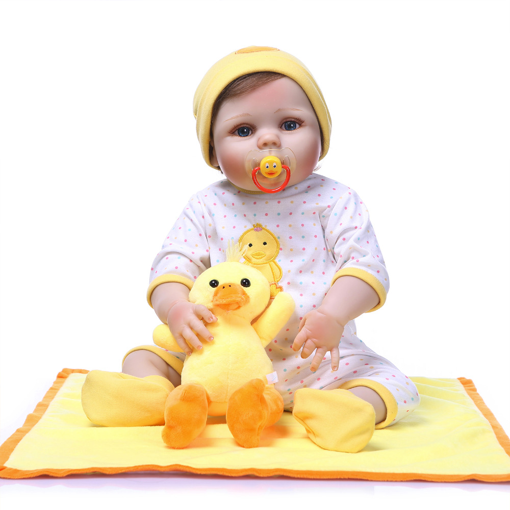 Nicery 22inch 55cm Bebe Reborn Doll Hard Silicone Boy Girl Toy Reborn Baby Doll Gift for Children Yellow Hat Yellow Duck Doll [mmmaww] christmas costume clothes for 18 45cm american girl doll santa sets with hat for alexander doll baby girl gift toy