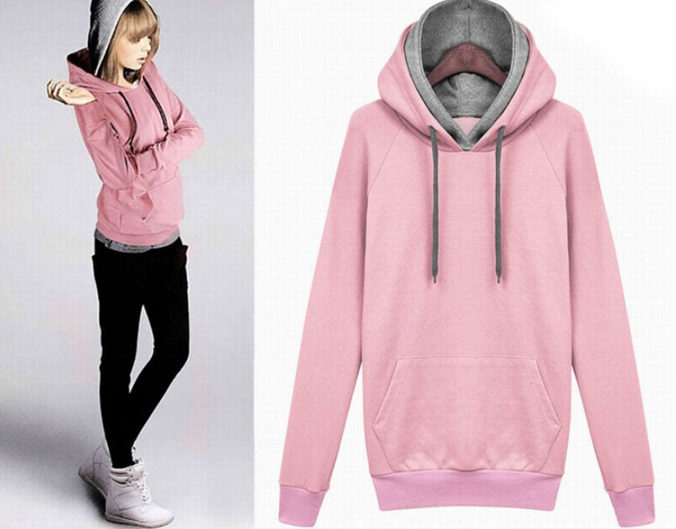 OL2017 double hats hit color personality shirt casual clothes womens clothes Hoodies Sweatshirts pullover hoodies wome