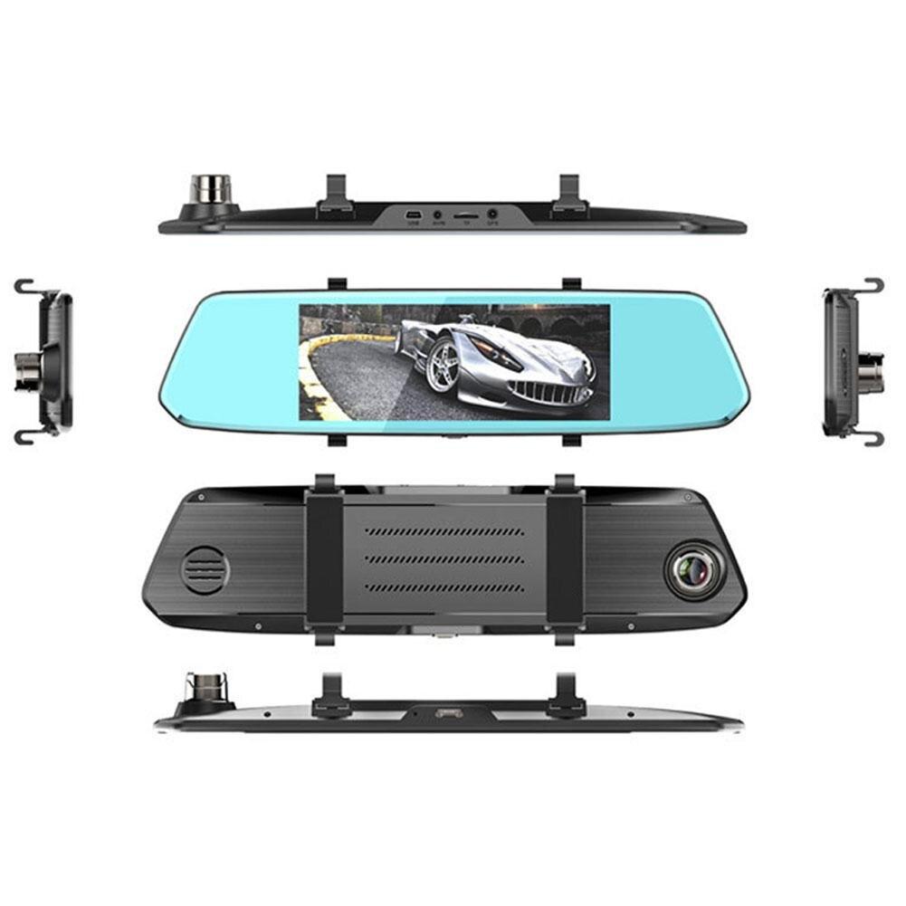 K730T 7 pouces voiture DVR 2.5D écran tactile rétroviseur Dash Cam double lentille caméra voiture DVR