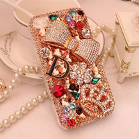 XINGDUO Champagne Rhinestones Bow Crown Flower Bling Hard Case For apple iphone 7 7Plus 6 6S 6Plus 6SPlus 5 5S SE 5C