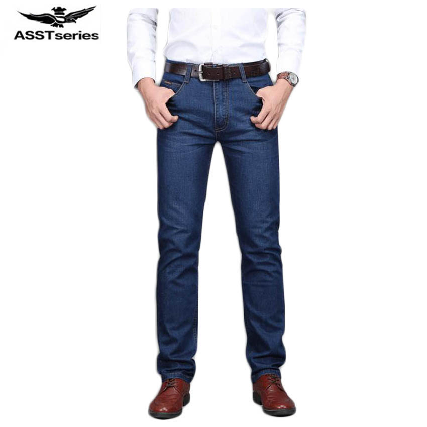Free shipping Autumn and winter new stretch of mens jeans Straight large size youth leisure jeans Classic Blue 65yw1