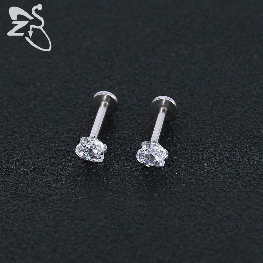 Stainless Steel Earring Studs Screw Earrings Girls Cubic Zirconia Cartilage Piercing Lip Studs Star Mini Earring Woman Jewellery 7