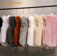FENGGUILAI New Winter Women's Faux Fox Fur Vest Long Furry Shaggy Woman Fake Fur Vest Fashion Plus Size Fur Vests High Quali