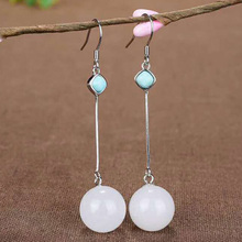 Drop Shipping Real 925 Sterling Silver Drop Earrings Ear Pin Natural Round Jade Handmade Wedding Earrings Fine Jewelry For Women аксессуар чехол для samsung galaxy s9 plus pero soft touch red prstc s9pr
