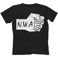 NWA Straight Outta Compton Men T Shirt Worlds Most Dangerous Group Ice Cube Dr Dre N.W.A Design 100% Cotton Top Tee Shirts S-3XL