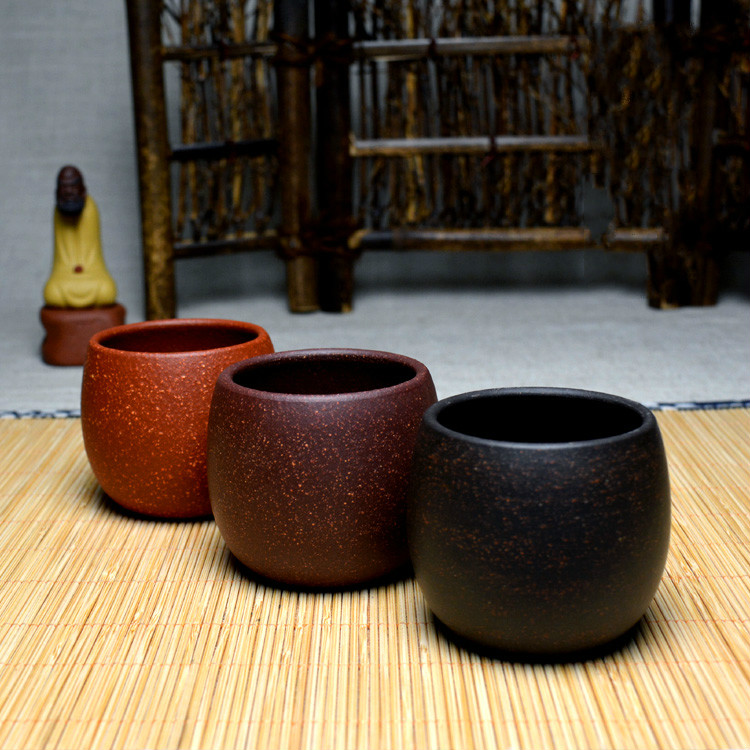 Yixing Cup coarse black Sand Mud Purple Clay Teacup full manual ore cup Master office grouan redware owner handmade Cups