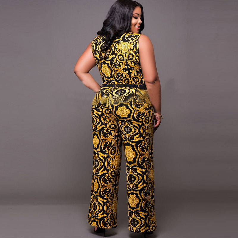 Plusee Jumpsuit Plus Size 4XL 5XL Women 2017 Golden Slim Wide Legs Geometric Color Block Button Pocket Print Plus Size Jumpsuit 3
