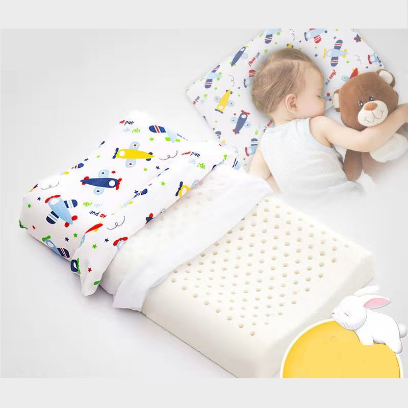 Two Sizes Soft Latex Pillow For Baby Infant Kids Ergonomic Design Baby Head Cushion Neck Guard Cartoon Kids Pillow 12 Colors