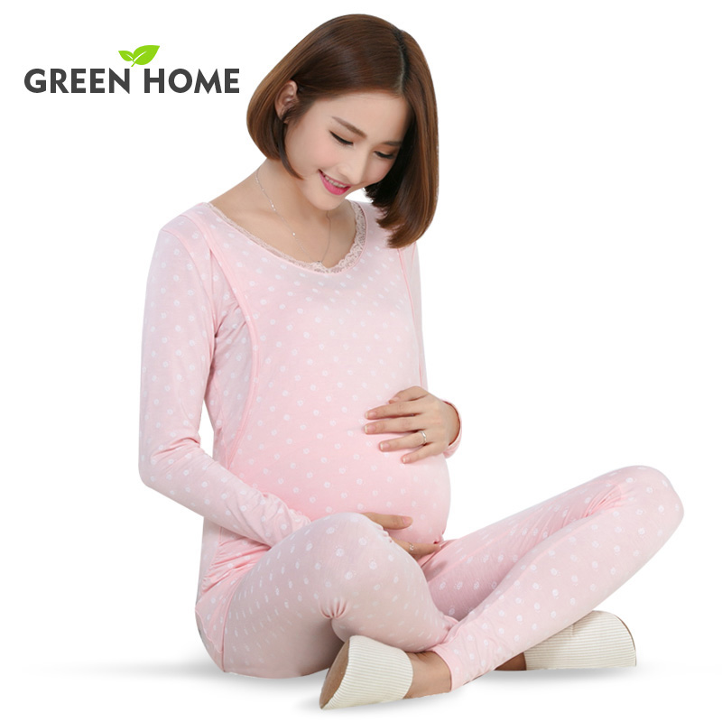 Green Home maternity sets cellulose fiber soft sleepwear Green Home comfortable for pregnancy women maternity nursing wear set