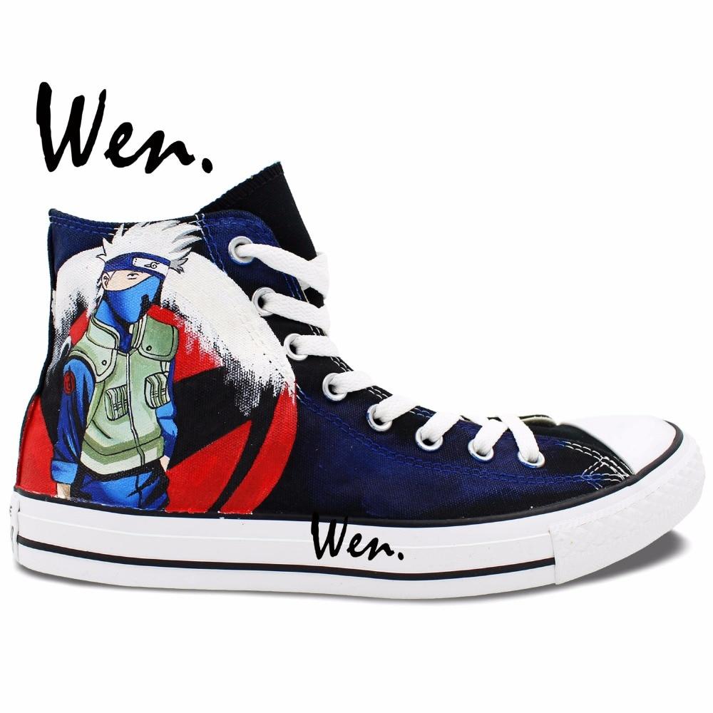 ФОТО Wen Anime Hand Painted Casual Shoes Custom Design Naruto Kakashi Men Women's High Top Canvas Christmas Birthday Gifts