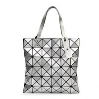 Female Folded Geometric Plaid Bag Madam Fashion Casual Tote Top Handle Bag Distortion Package Shoulder Bag