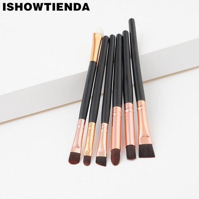 2019 pinceles maquillaje profesional cepillos de sombra de ojos 6 piezas de oro rosa y Negro mezcla de maquillaje cepillo pennelli hacer occhi #7