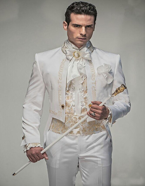 Clic Style Handsome White With Gold Embroidery Groom Tuxedos Suit Groomsmen Mens Wedding Suits Prom