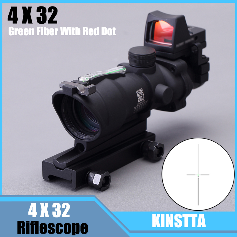 KINSTTA Rifle Military Lens ACOG Style 4X32 Real Red Fiber Source Red Illuminated Rifle Scope w