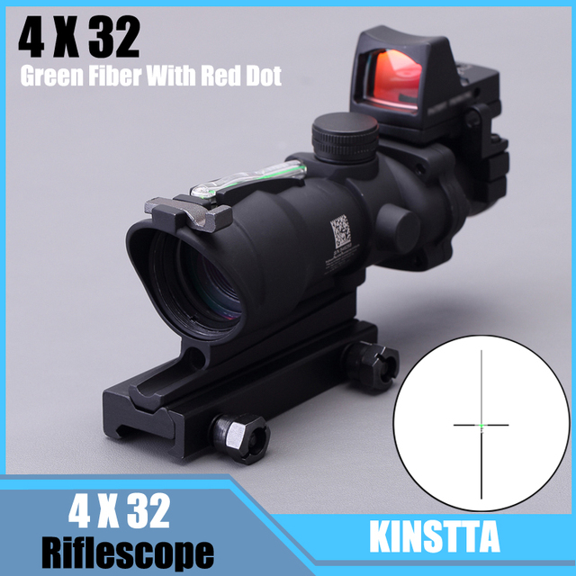 KINSTTA Rifle Military Lens ACOG Style 4X32 Real Red Fiber Source Red Illuminated Rifle Scope w/ RMR Micro Red Dot