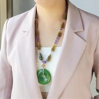 Lii Ji Natural Agate Amethyst Crystal Green Agate Pendant with Jade Toggle Clasp 64cm