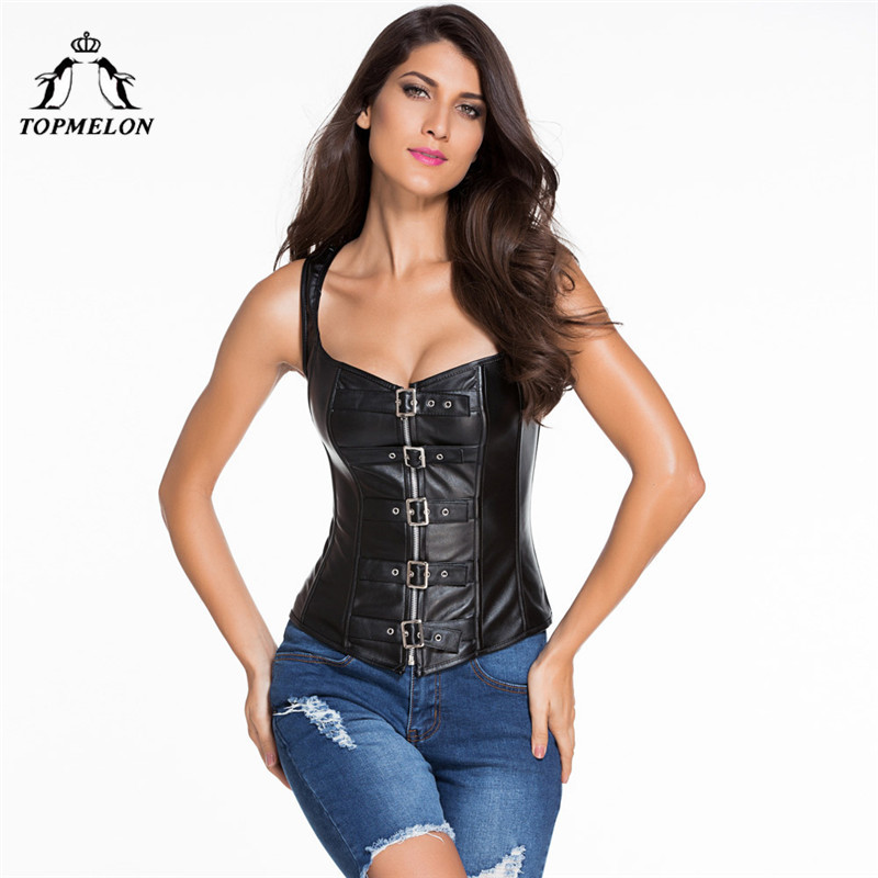 TOPMELON Gothic Steampunk Corselet Sexy Corset Women Bustier Slimming Shapwear Black Strap Leather Shows Party Club Corset Tops