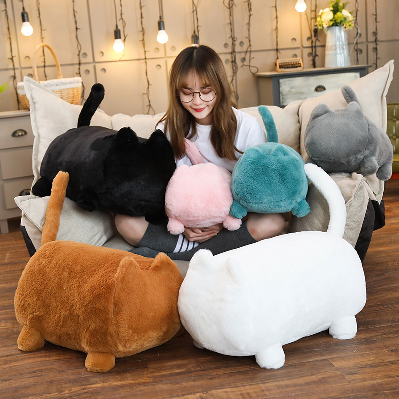 40/55cm Kawaii Faceless Cat Soft Plush Cat Toys Stuffed Animal Cat Plush Toys Child Birthday Gift Pillow Cushion Popular Toy