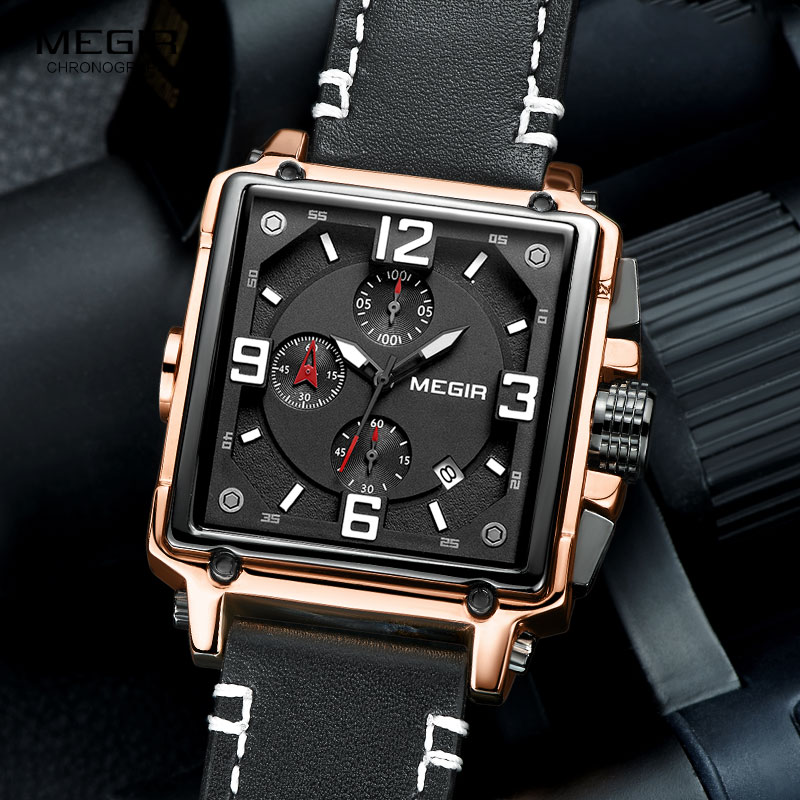 Image 4 - Megir Leather Strap Army Chronograph Quartz Wrist Watches Men Square Sports Stop Watch Man Clock Relogios Masculino 2061 RoseQuartz Watches   -