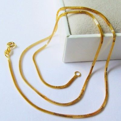 New Pure Au750 18K Yellow Gold Chain Womens Milan Box Link Necklace 2-2.5gNew Pure Au750 18K Yellow Gold Chain Womens Milan Box Link Necklace 2-2.5g