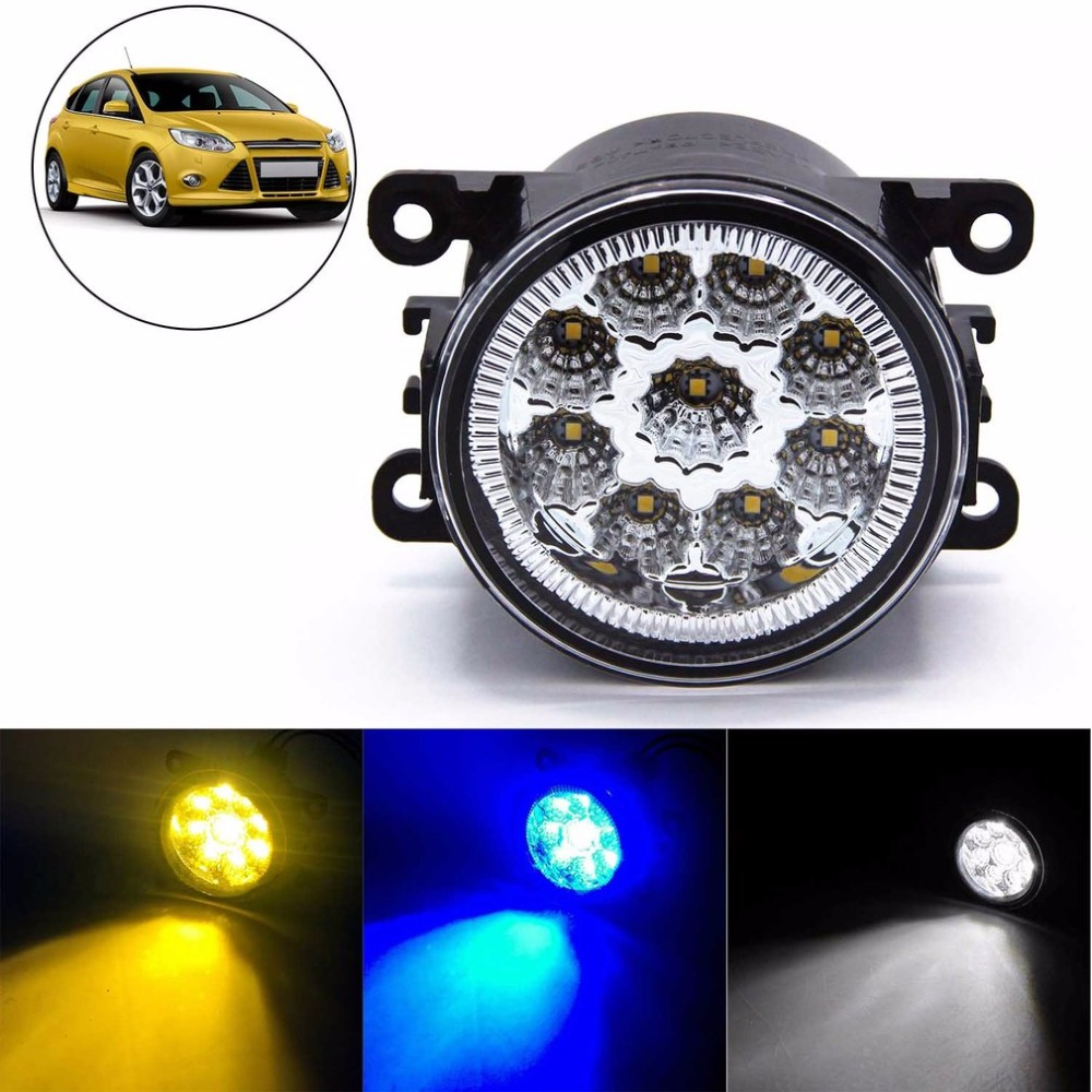 2 Pieces 6000K 1000LM Full LED Fog Lights High Power Driving Lamps with 9 SMD LEDs for Ford Ranger & Territory