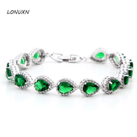 7 colors fashion teardrop shaped love natural green red 925 Sterling silver crystal bracelet female jewelry lovers best gift