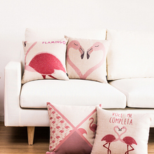 Fashion nordic Bird Pink Love FlamingosThrow Pillowcase Decorative Cushion cover  Linen cotton Almofadas Cojines