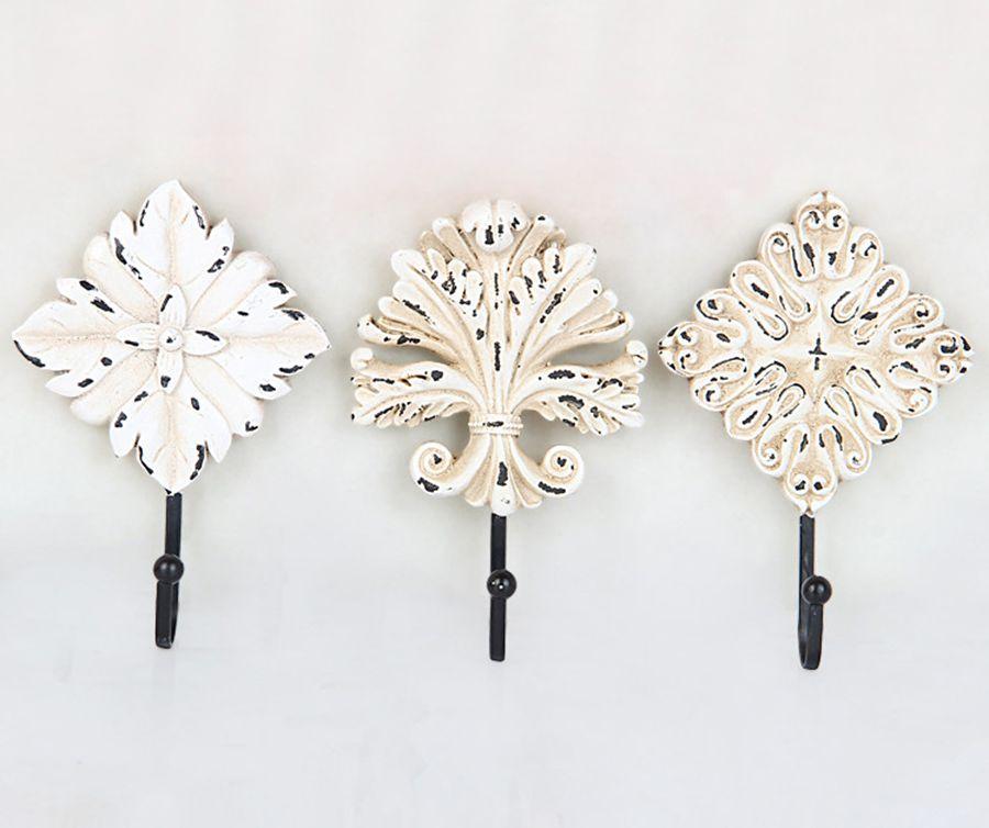 חמה למכירה החדש קונטיננטל עתיק לבן שלושת חלקי פרח קרס קיר רכוב חדר רחצה החלוק הוקס תליית קולב מעיל כובע שמלה